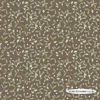 Lewis and Irene Fabric - Winter in Bluebell Wood - Mistletoe on Dark Taupe