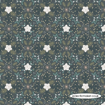 Lewis and Irene Fabric - Winter in Bluebell Wood - Winter Floral Dark