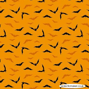 Makower Fabrics - Midnight Haunt - Night Flight on Terracotta