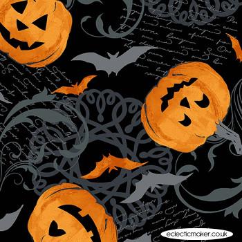 Makower Fabrics - Midnight Haunt - Pumpkin Scroll on Night