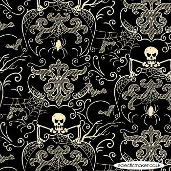 Makower Fabrics - Midnight Haunt - Spooky Damask in Haunt