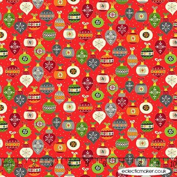 Makower Fabrics - Santa Express - Baubles on Red
