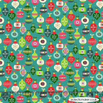 Makower Fabrics - Santa Express - Baubles on Teal