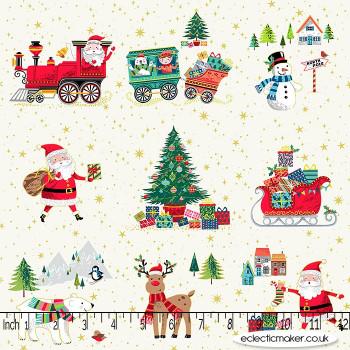 Makower Fabrics - Santa Express - Placement on White