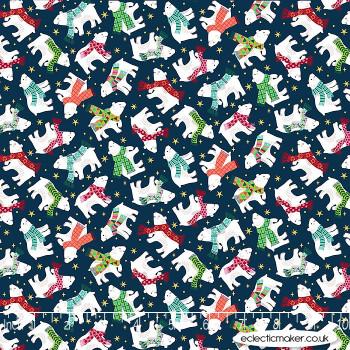 Makower Fabrics - Santa Express - Polar Bear on Navy