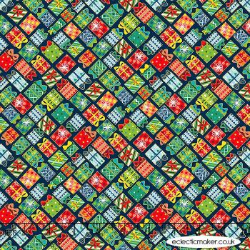 Makower Fabrics - Santa Express - Presents on Midnight