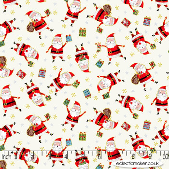 Makower Fabrics - Santa Express - Santa on Cream