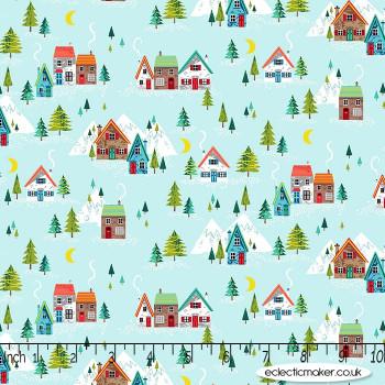 Makower Fabrics - Santa Express - Scenic on Teal
