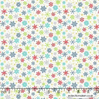Makower Fabrics - Santa Express - Snow Flurry in Multi