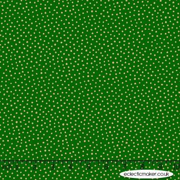 Makower Fabrics - Santa Express - Snowball on Green Metallic