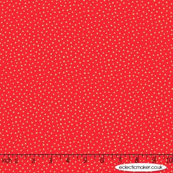 Makower Fabrics - Santa Express - Snowball on Red Metallic