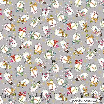 Makower Fabrics - Santa Express - Snowman on Silver