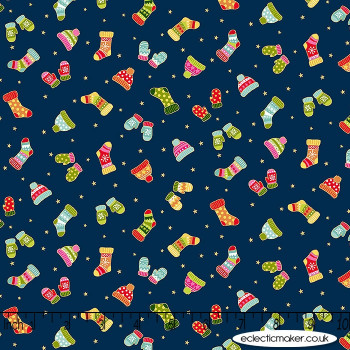Makower Fabrics - Santa Express - Woollen Mittens on Midnight