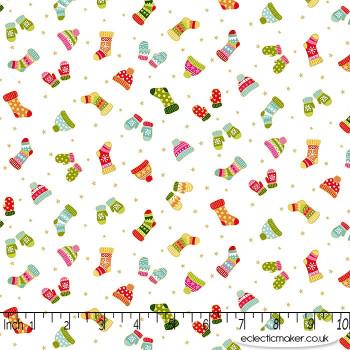 Makower Fabrics - Santa Express - Woollen Mittens on Snow Day