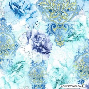 Michael Miller - Flower Burst - Flower Burst in Blue