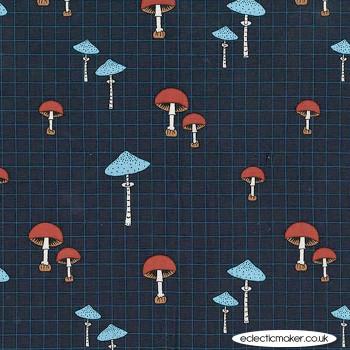 Michael Miller Fabric - Forest Gifts - Wild Mushrooms in Indigo