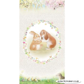Michael Miller Fabrics - Honey Bunny Bundle of Joy Fabric Panel in White by Sleeping Bear Press - Full