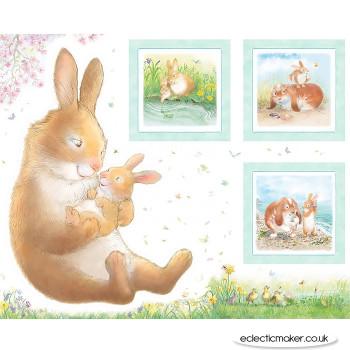 Michael Miller - Honey Bunny Hug a Bunny Fabric Panel in White by Sleeping Bear Press