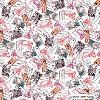 Michael Miller Fabrics - La Parisienne - Letters From Afar in Red