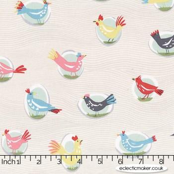 Michael Miller Fabric - Our Yard - Yard Birds in Cloud