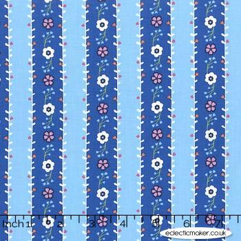 Michael Miller Fabric - Saturday Morning - Flower Garland in Blue