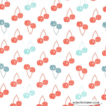 Michael Miller Fabric - Strawberry Tea - Cerises in Coral