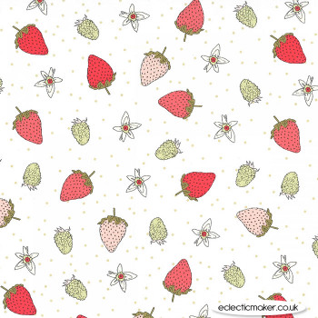 Michael Miller Fabric - Strawberry Tea - Fraises in Sage
