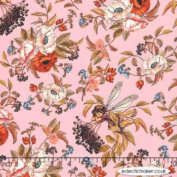 Michael Miller Fabric - Elderberry Flower Fairies in Pink