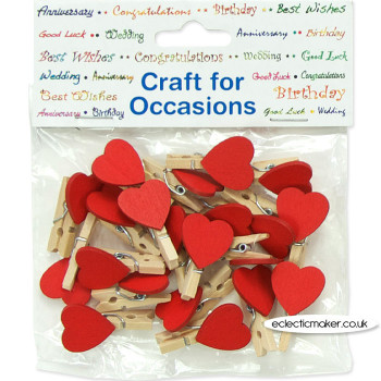 Wooden Pegs - Heart shaped - Minature