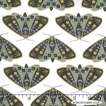 Moda Fabrics - Dwell in Possibility - Dainty Moths in Ivory Sky Metallic