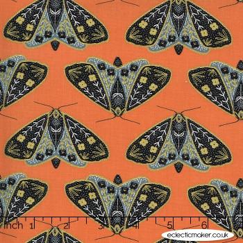 Moda Fabrics - Dwell in Possibility - Dainty Moths in Poppy Metallic