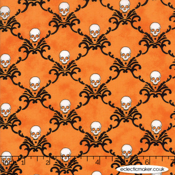 Moda Fabrics - Eerily Elegant - Skull Trellis in Vintage Pumpkin