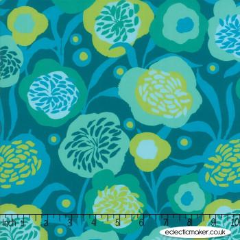 Moda Fabrics - Growing Beautiful RAYON - Peonies in Teal