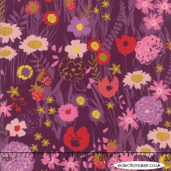 Moda - Growing Beautiful RAYON - Wildflowers in Plum