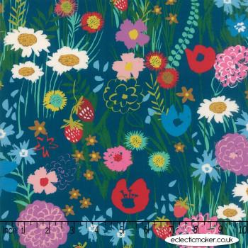 Moda - Growing Beautiful RAYON - Wildflowers in Teal