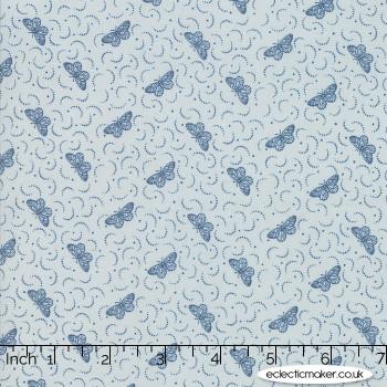 Moda Fabrics - Le Beau Papillon - Una in Blue Dust