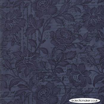 """Moda Fabrics - Memoirs 108"""" Quilt Back - Flourish Script in Indigo"""