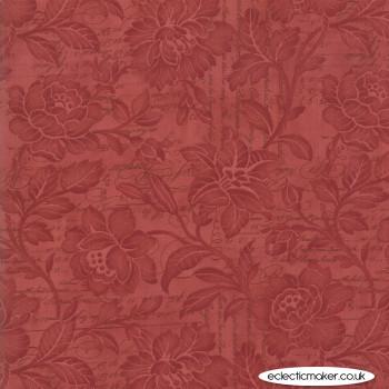 """Moda Fabrics - Memoirs 108"""" Quilt Back - Flourish Script in Rust"""