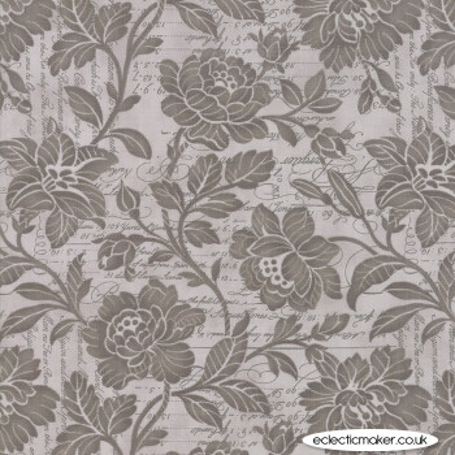 "Moda Fabrics - Memoirs 108"" Quilt Back - Flourish Script in Silver"