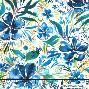 Moda Fabrics - Moody Bloom - Effloresce in Indigo