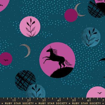 Ruby Star Society - Crescent - Unicorn Moon in Dark Teal