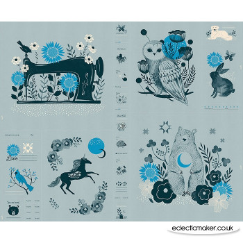 Ruby Star Society - Crescent Fabric Panel in Soft Blue