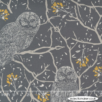 Moda Fabrics - Through the Woods - Woodland Owls in Charcoal