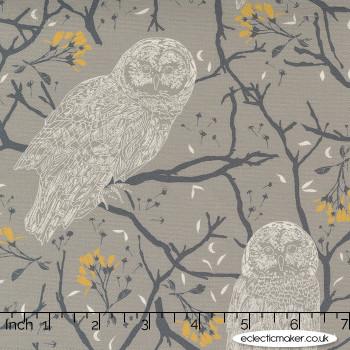 Moda Fabrics - Through the Woods - Woodland Owls in Flint