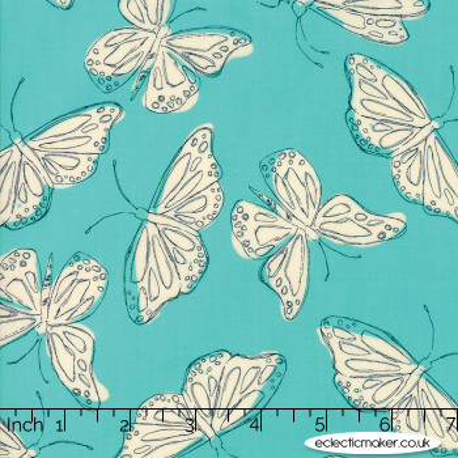 Moda Fabrics - Wild Nectar - Flutter in Aqua