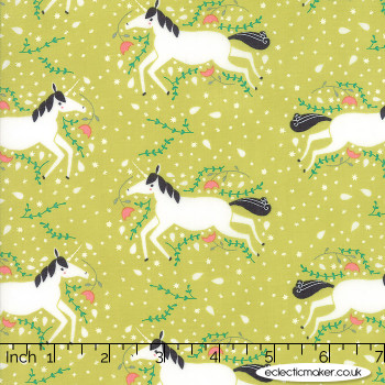 Moda Fabrics - Enchanted - Unicorns Galore in Sprout