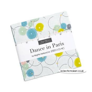 Moda Fabrics - Dance in Paris - Metallic - Charm Pack - Zen Chic