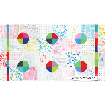 Moda Modern Backgrounds Colorbox Fabric Panel in White Cheater