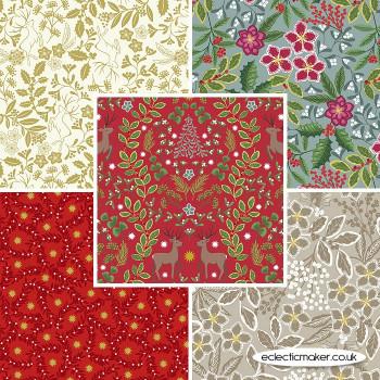 Noel - Fabric Bundle in Red Metallic - Lewis and Irene Fabrics
