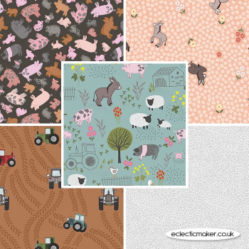 Lewis and Irene - Piggy Tales - Fabric Bundle in Duck Egg